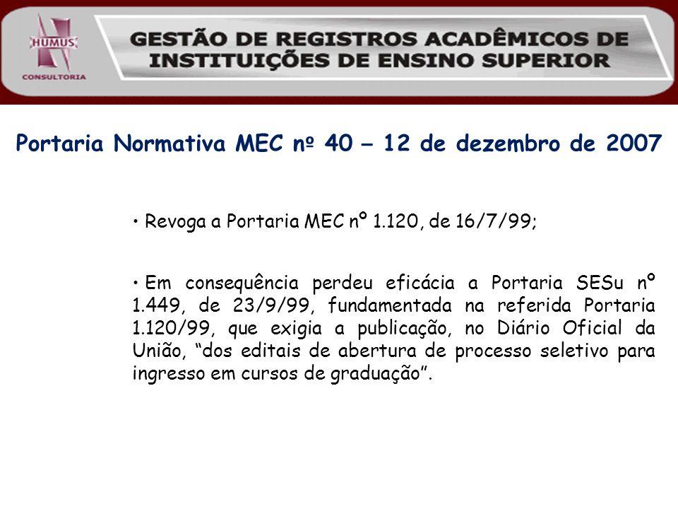 Portaria Normativa MEC nº 40 – 12 de dezembro de 2007