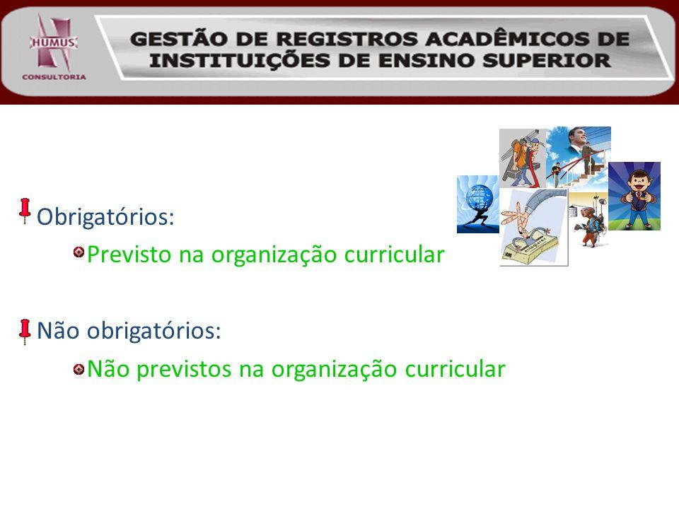 Obrigatórios: Previsto na organização curricular.