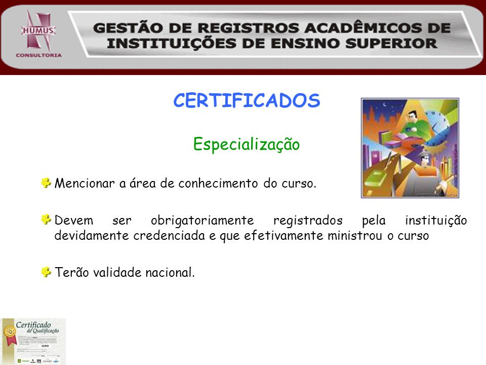 CERTIFICADOS Especialização Mencionar a área de conhecimento do curso.