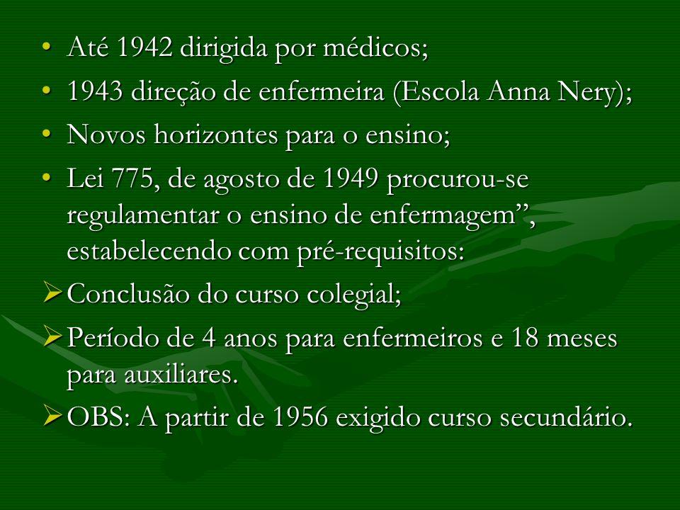 Até 1942 dirigida por médicos;