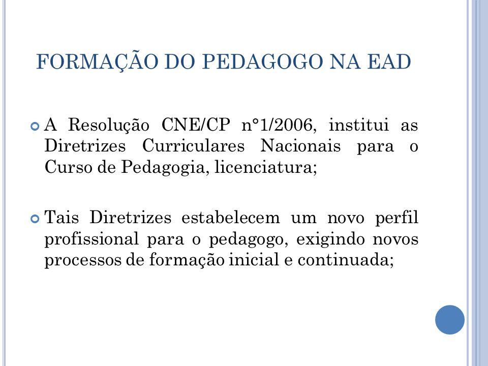 FORMAÇÃO DO PEDAGOGO NA EAD