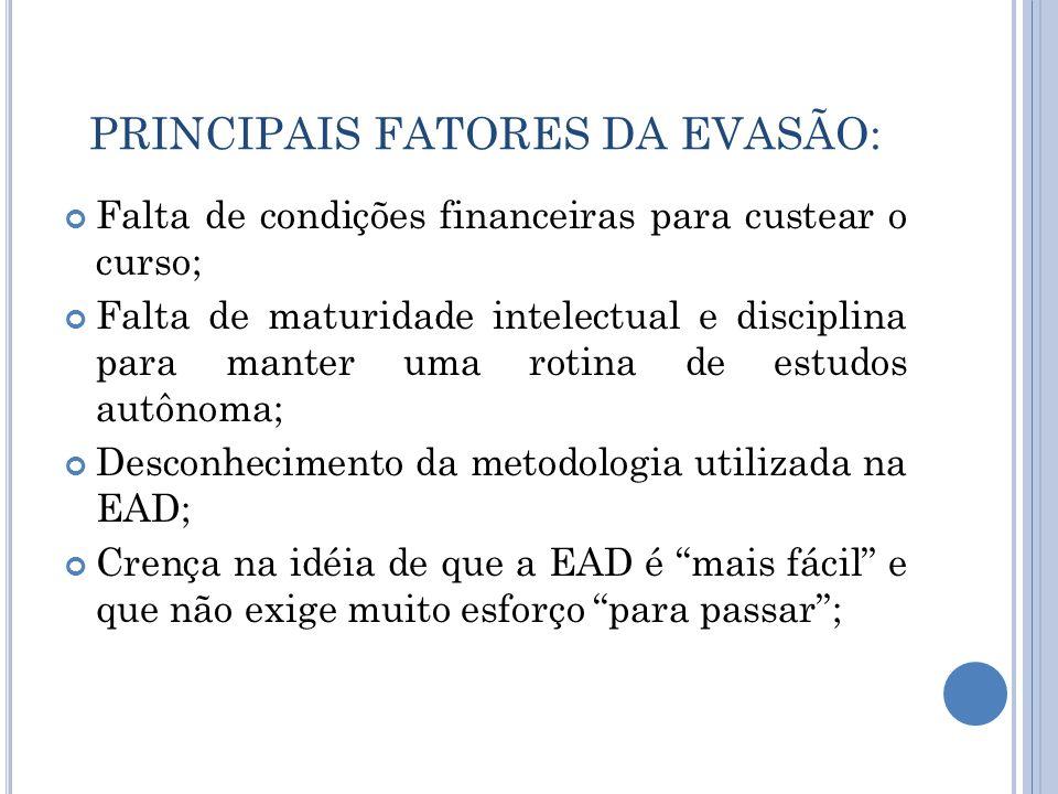 PRINCIPAIS FATORES DA EVASÃO: