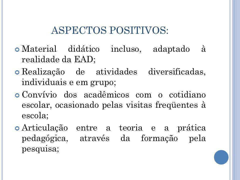 ASPECTOS POSITIVOS: Material didático incluso, adaptado à realidade da EAD; Realização de atividades diversificadas, individuais e em grupo;
