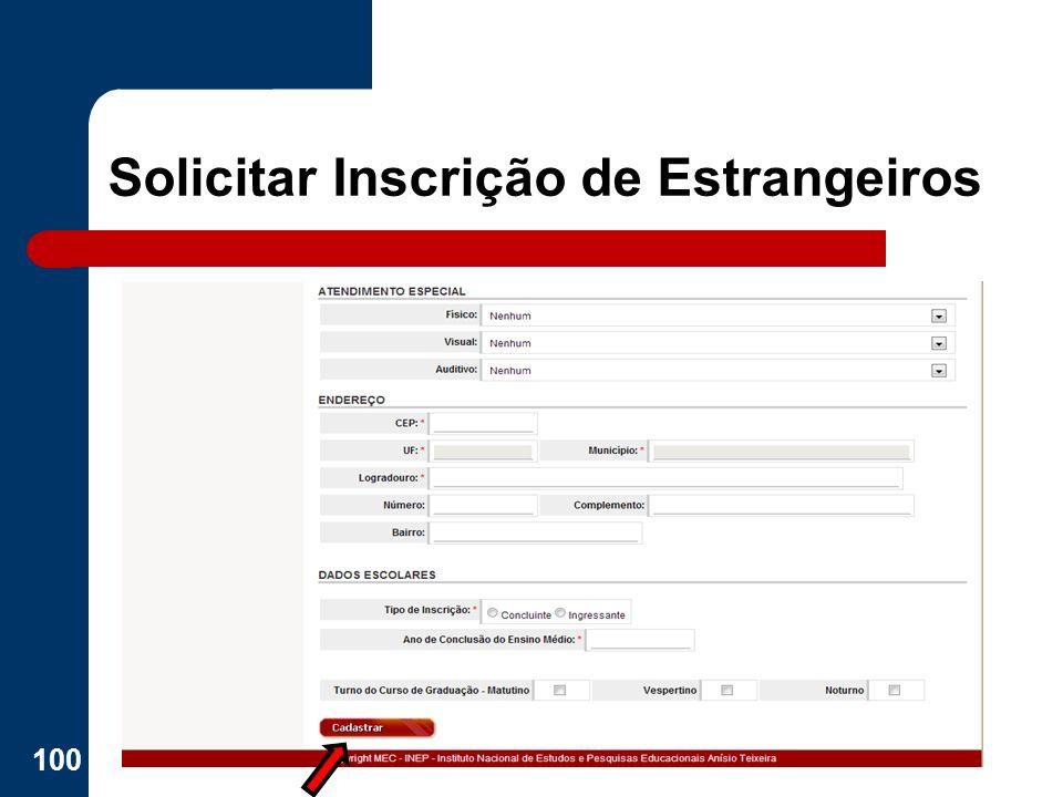 Solicitar Inscrição de Estrangeiros