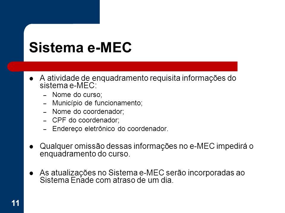 Sistema e-MEC A atividade de enquadramento requisita informações do sistema e-MEC: Nome do curso; Município de funcionamento;
