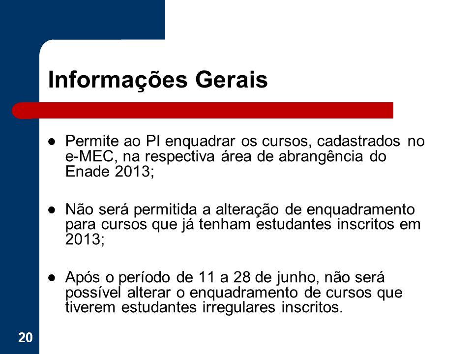 Informações Gerais Permite ao PI enquadrar os cursos, cadastrados no e-MEC, na respectiva área de abrangência do Enade 2013;