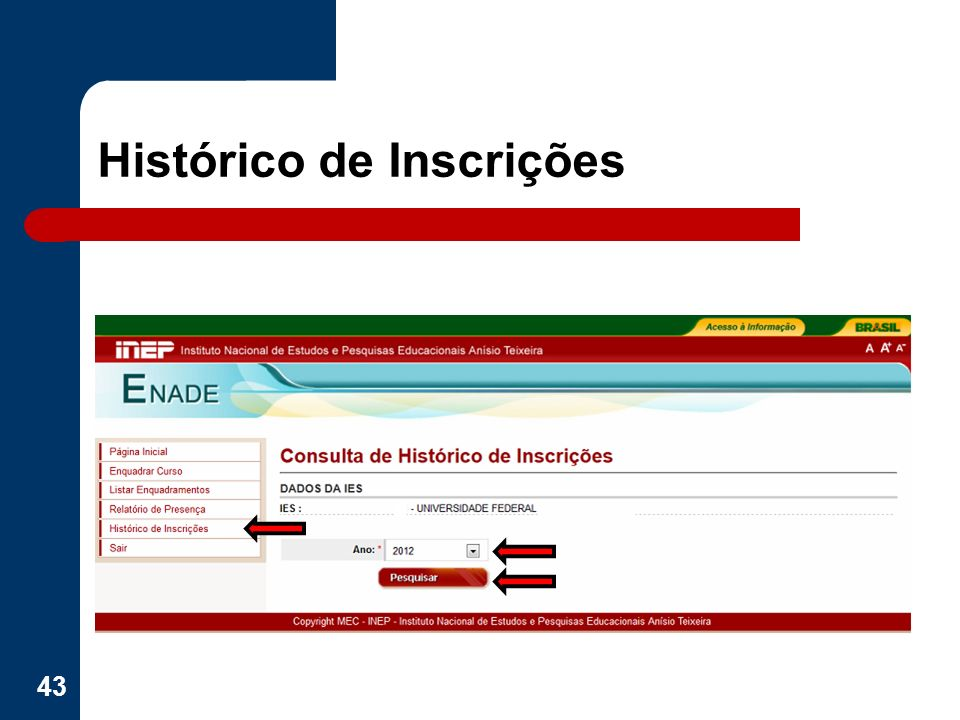 Histórico de Inscrições