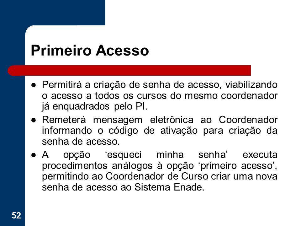 Primeiro Acesso Permitirá a criação de senha de acesso, viabilizando o acesso a todos os cursos do mesmo coordenador já enquadrados pelo PI.