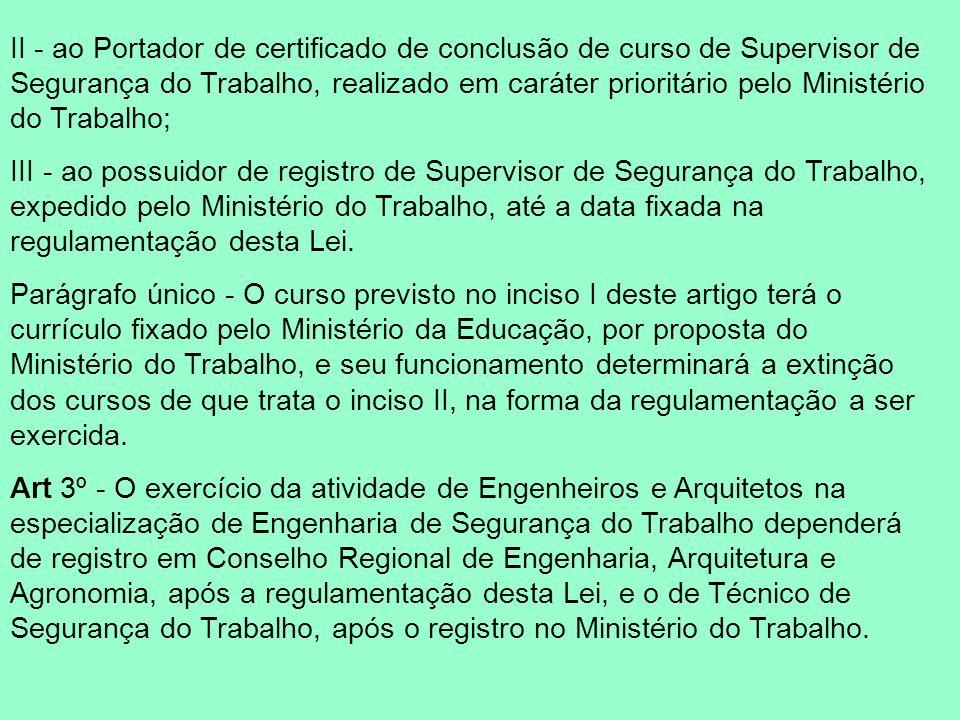 II - ao Portador de certificado de conclusão de curso de Supervisor de Segurança do Trabalho, realizado em caráter prioritário pelo Ministério do Trabalho;