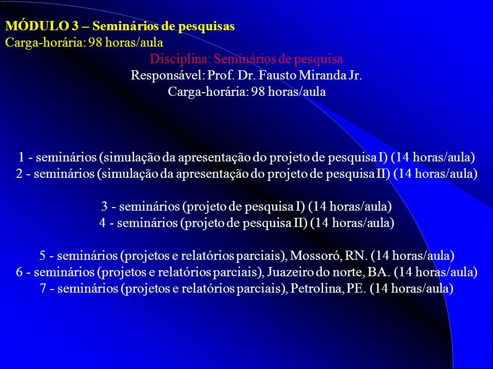 MÓDULO 3 – Seminários de pesquisas Carga-horária: 98 horas/aula