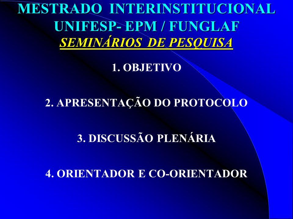 2. APRESENTAÇÃO DO PROTOCOLO 4. ORIENTADOR E CO-ORIENTADOR