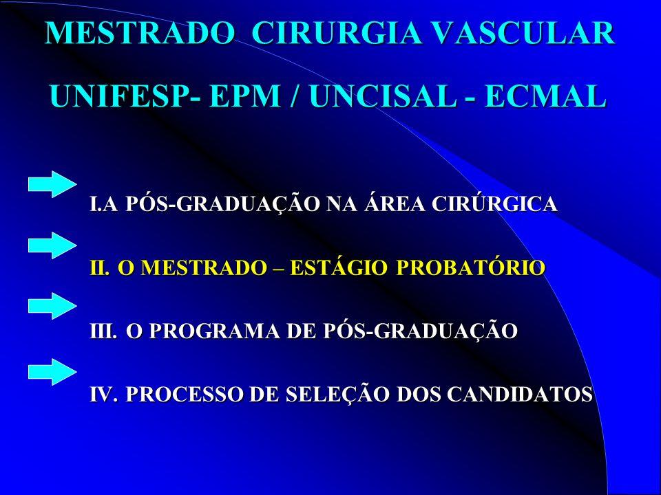 MESTRADO CIRURGIA VASCULAR UNIFESP- EPM / UNCISAL - ECMAL
