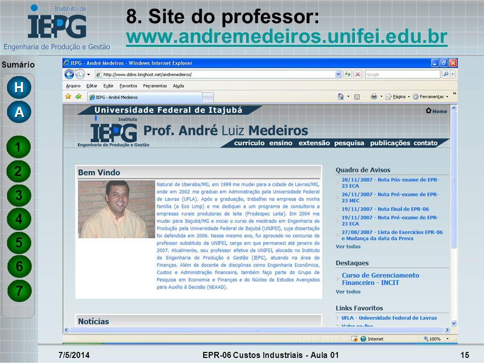 8. Site do professor: www.andremedeiros.unifei.edu.br