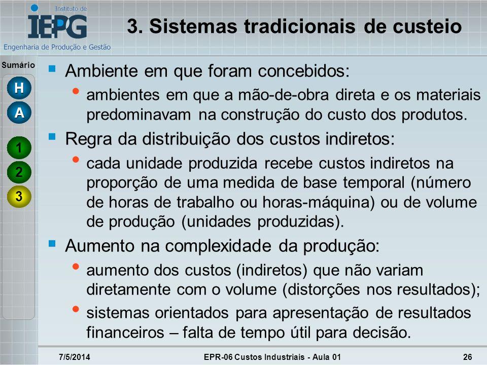 3. Sistemas tradicionais de custeio