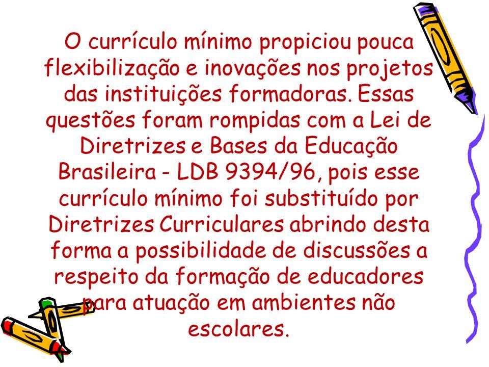 O currículo mínimo propiciou pouca flexibilização e inovações nos projetos das instituições formadoras.