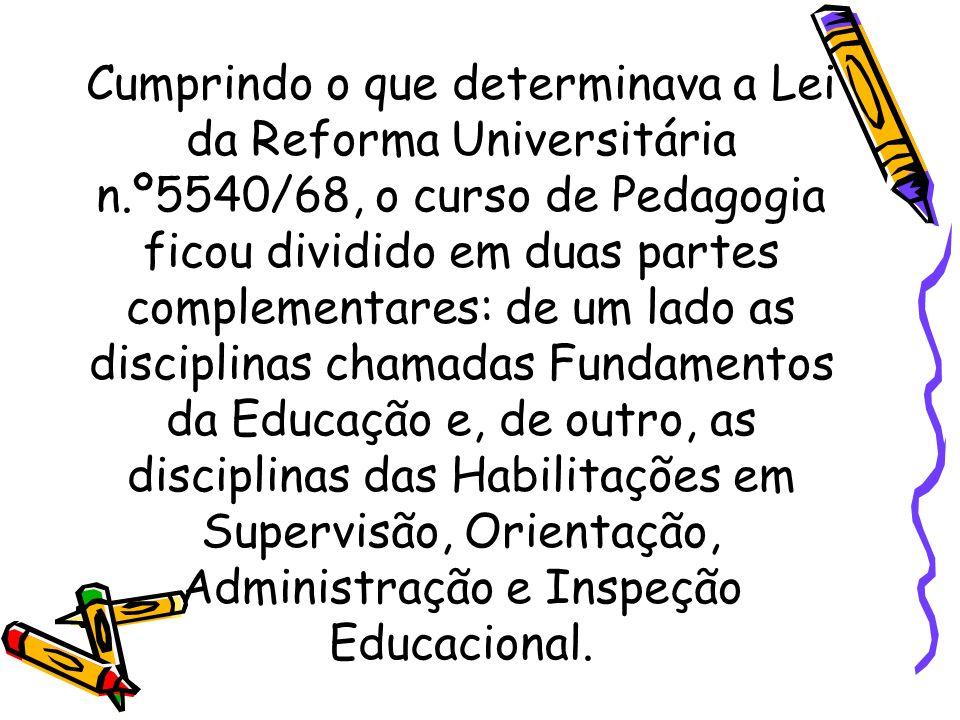 Cumprindo o que determinava a Lei da Reforma Universitária n