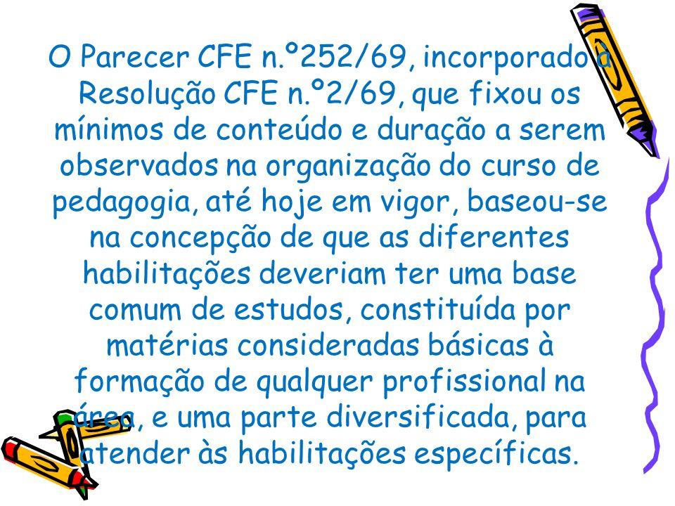 O Parecer CFE n. º252/69, incorporado à Resolução CFE n