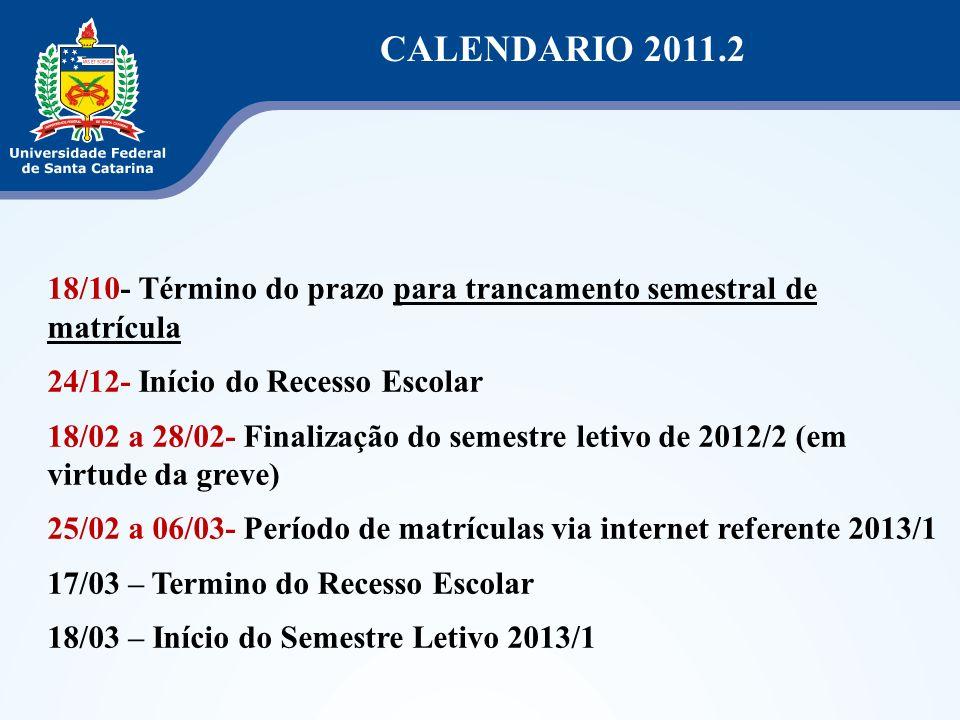 CALENDARIO 2011.2 18/10- Término do prazo para trancamento semestral de matrícula. 24/12- Início do Recesso Escolar.