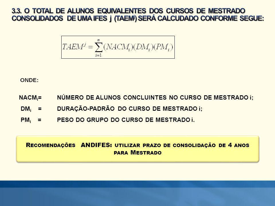 3.3. O TOTAL DE ALUNOS EQUIVALENTES DOS CURSOS DE MESTRADO CONSOLIDADOS DE UMA IFES j (TAEMj) SERÁ CALCUDADO CONFORME SEGUE: