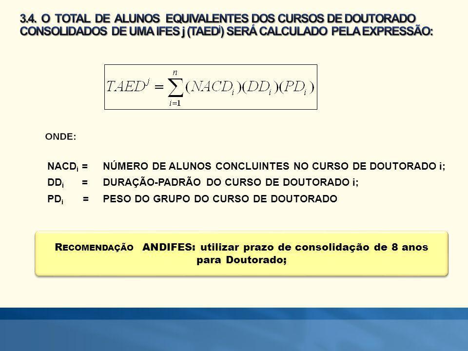 3.4. O TOTAL DE ALUNOS EQUIVALENTES DOS CURSOS DE DOUTORADO CONSOLIDADOS DE UMA IFES j (TAEDj) SERÁ CALCULADO PELA EXPRESSÃO: