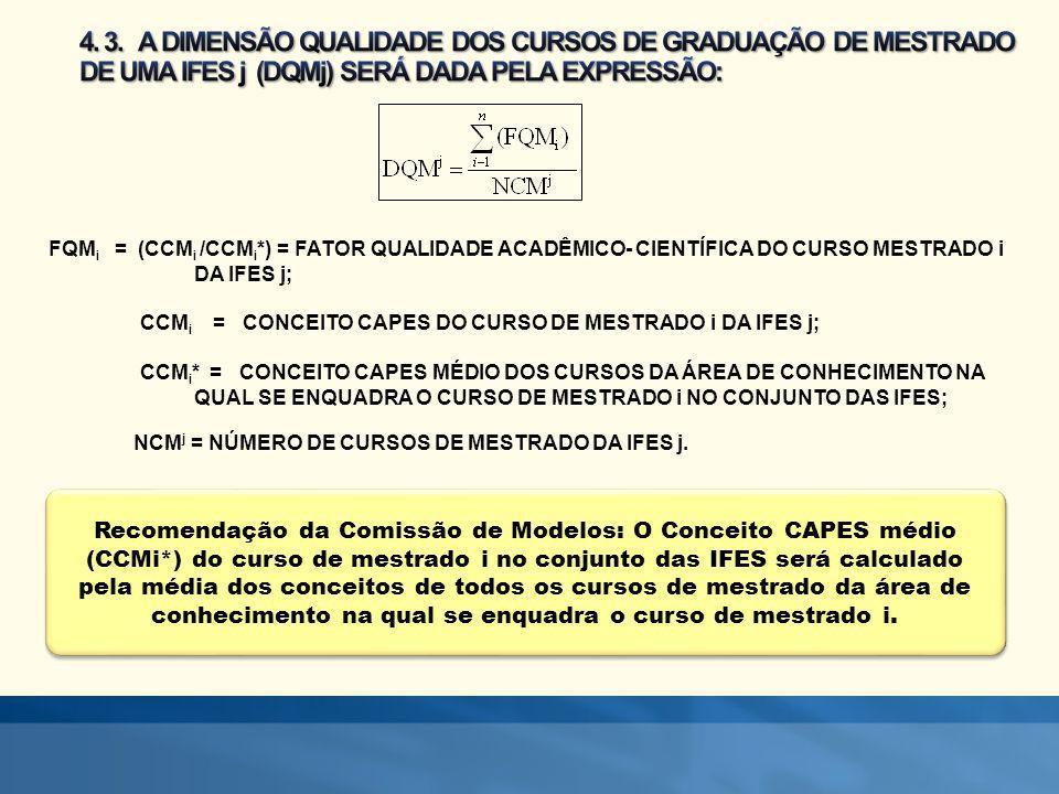 4. 3. A DIMENSÃO QUALIDADE DOS CURSOS DE GRADUAÇÃO DE MESTRADO DE UMA IFES j (DQMj) SERÁ DADA PELA EXPRESSÃO: