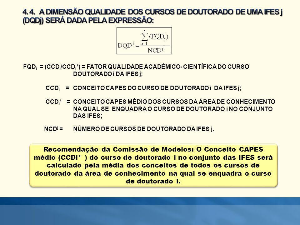 4. 4. A DIMENSÃO QUALIDADE DOS CURSOS DE DOUTORADO DE UMA IFES j (DQDj) SERÁ DADA PELA EXPRESSÃO: