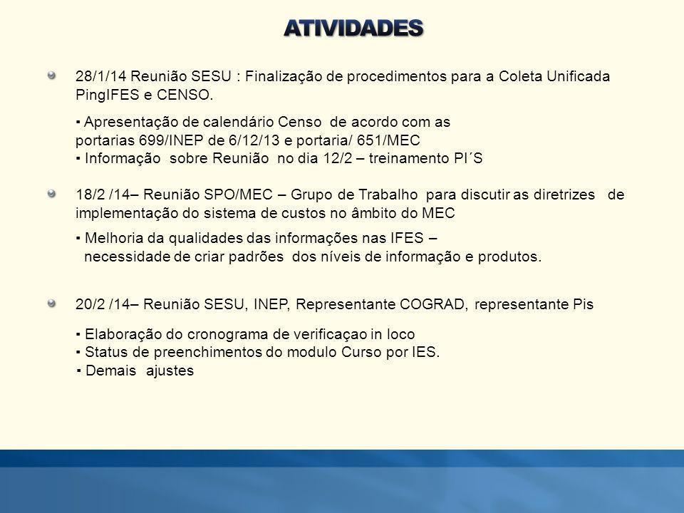 28/1/14 Reunião SESU : Finalização de procedimentos para a Coleta Unificada PingIFES e CENSO.