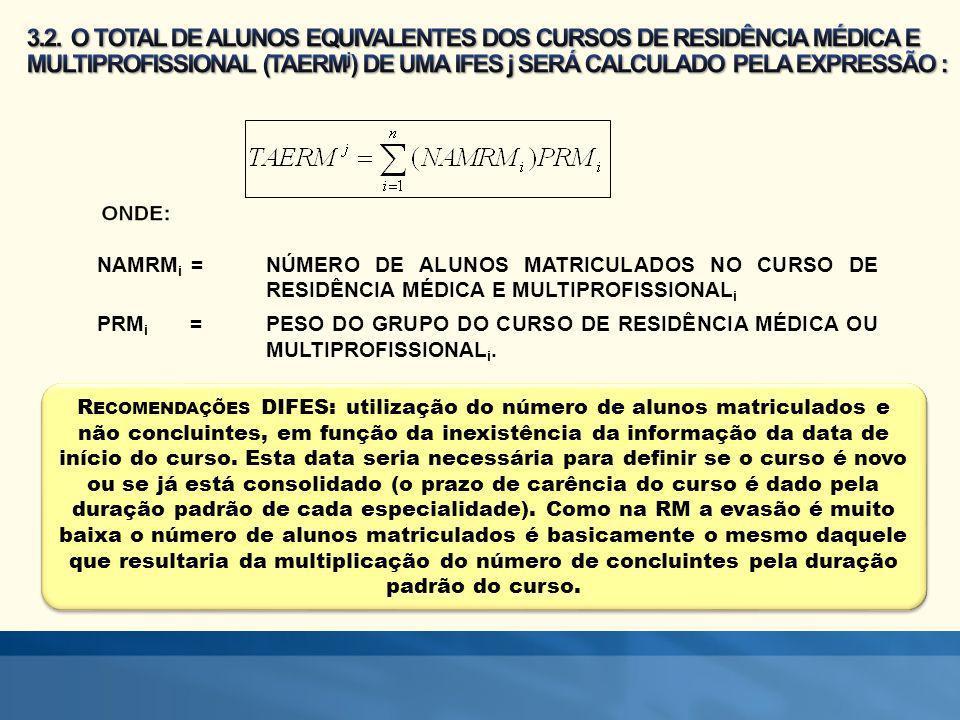 3.2. O TOTAL DE ALUNOS EQUIVALENTES DOS CURSOS DE RESIDÊNCIA MÉDICA E MULTIPROFISSIONAL (TAERMj) DE UMA IFES j SERÁ CALCULADO PELA EXPRESSÃO :