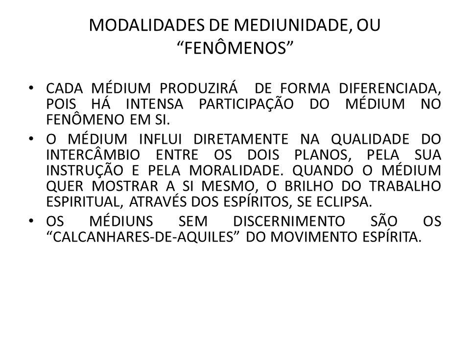 MODALIDADES DE MEDIUNIDADE, OU FENÔMENOS