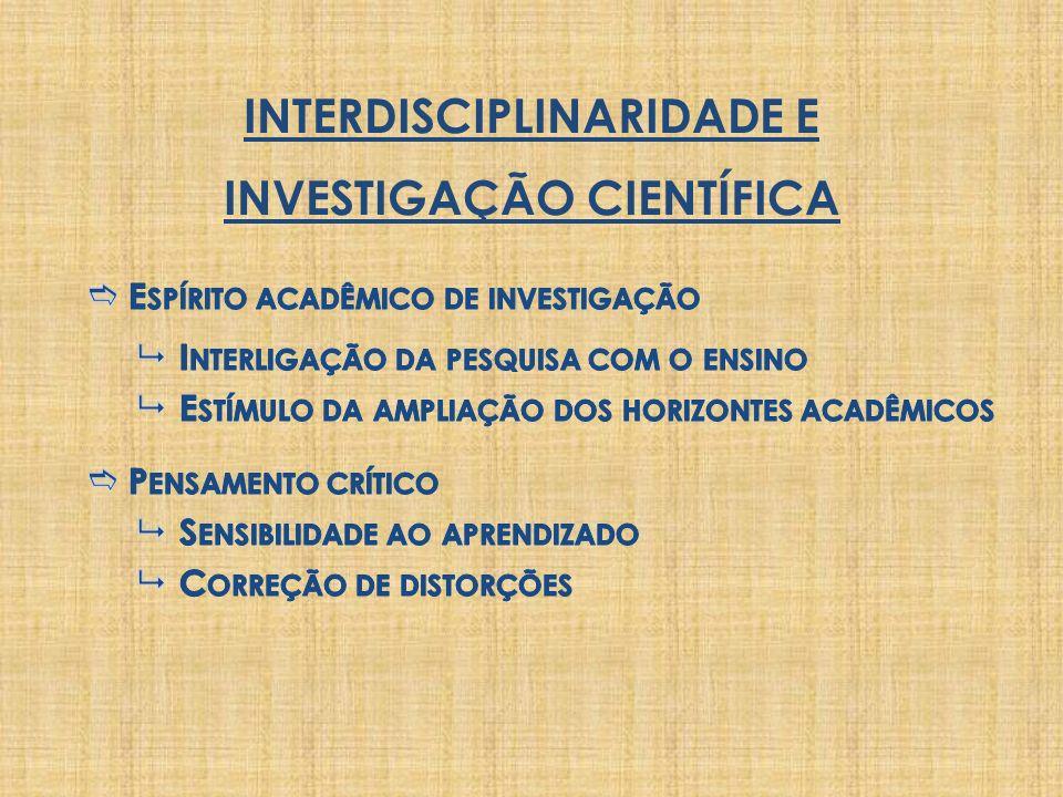 INTERDISCIPLINARIDADE E INVESTIGAÇÃO CIENTÍFICA