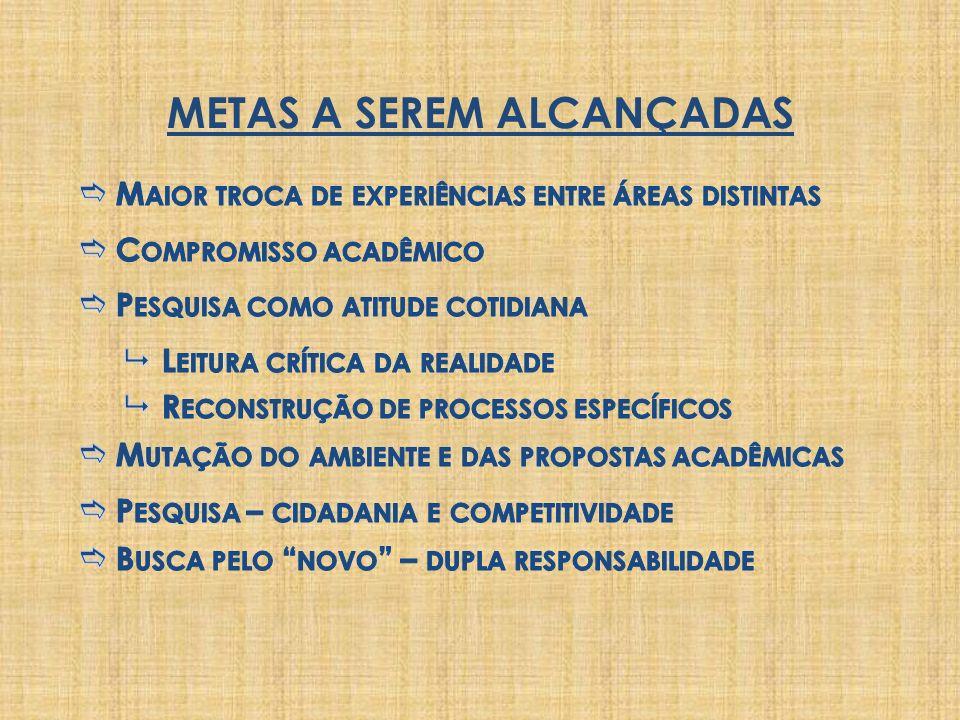METAS A SEREM ALCANÇADAS