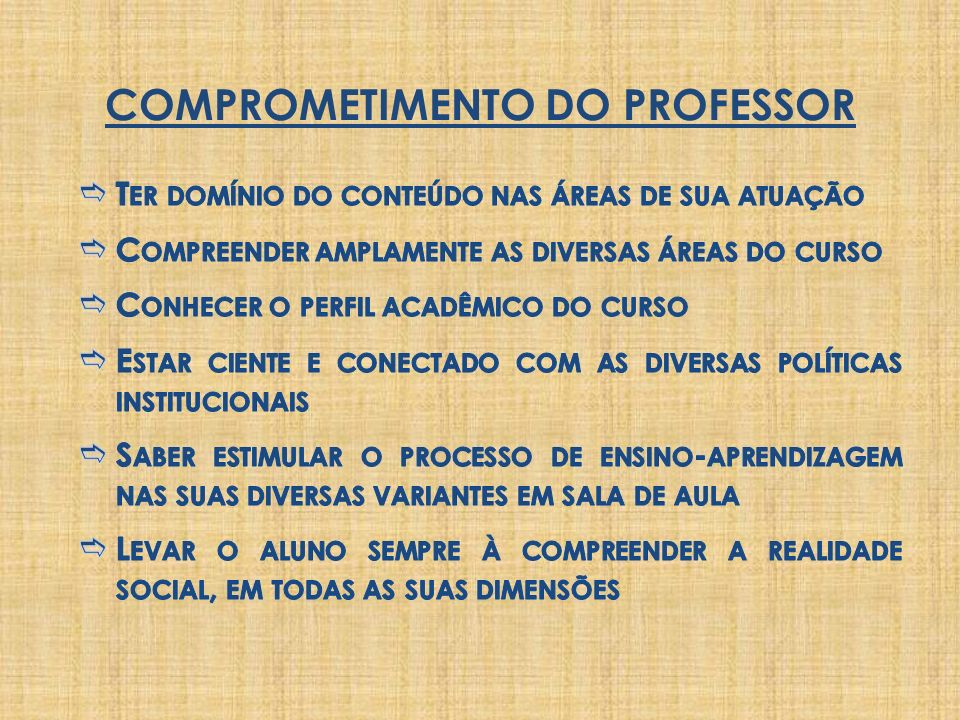 COMPROMETIMENTO DO PROFESSOR