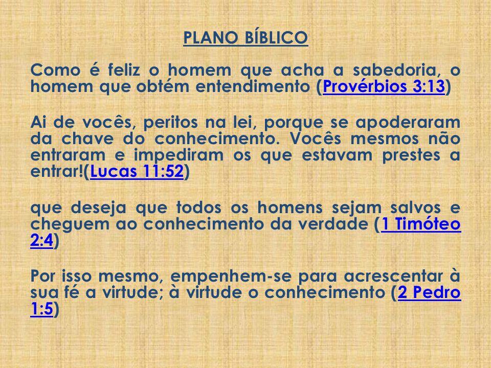 PLANO BÍBLICO Como é feliz o homem que acha a sabedoria, o homem que obtém entendimento (Provérbios 3:13)