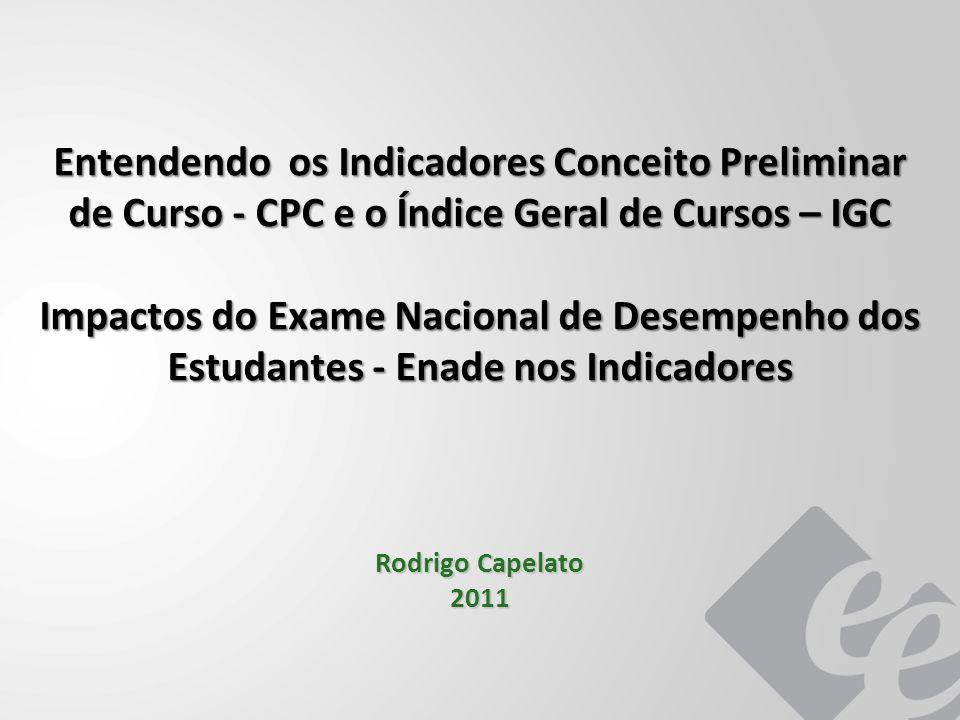 Entendendo os Indicadores Conceito Preliminar de Curso - CPC e o Índice Geral de Cursos – IGC Impactos do Exame Nacional de Desempenho dos Estudantes - Enade nos Indicadores Rodrigo Capelato 2011
