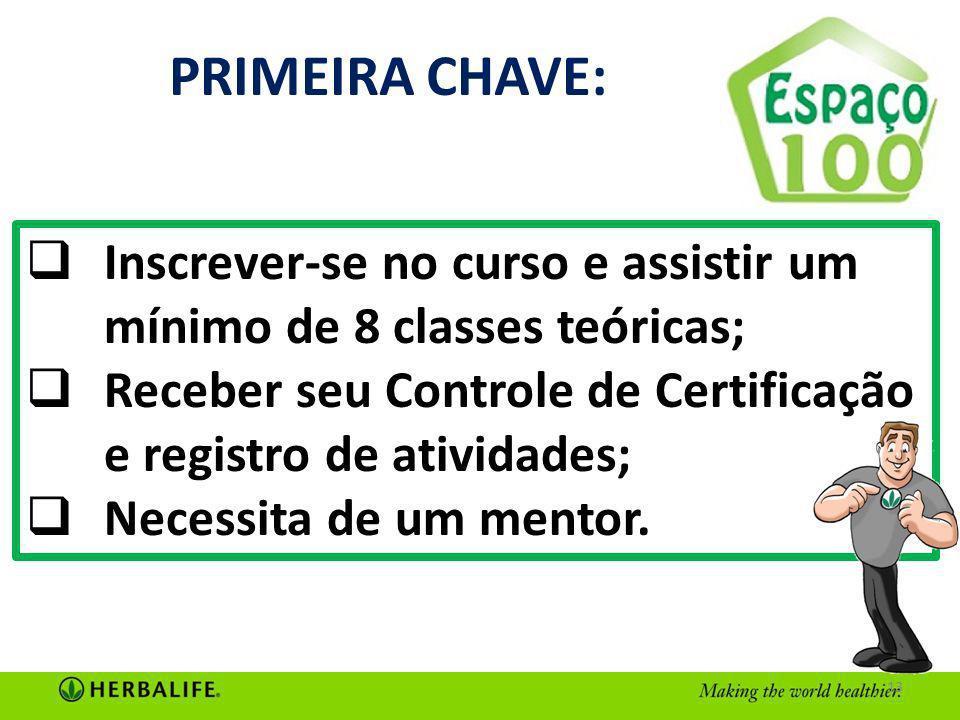 PRIMEIRA CHAVE: Inscrever-se no curso e assistir um mínimo de 8 classes teóricas; Receber seu Controle de Certificação e registro de atividades;