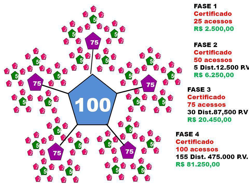 100 FASE 1 Certificado 25 acessos R$ 2.500,00 50 75 FASE 2 Certificado
