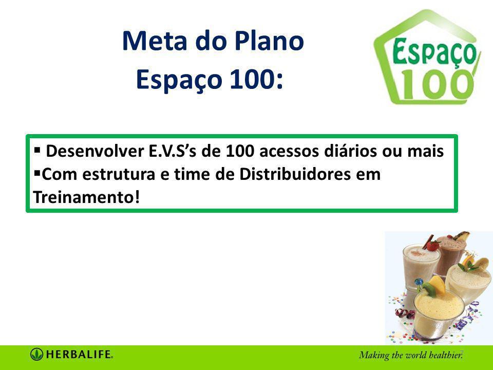 Meta do Plano Espaço 100: Desenvolver E.V.S's de 100 acessos diários ou mais.