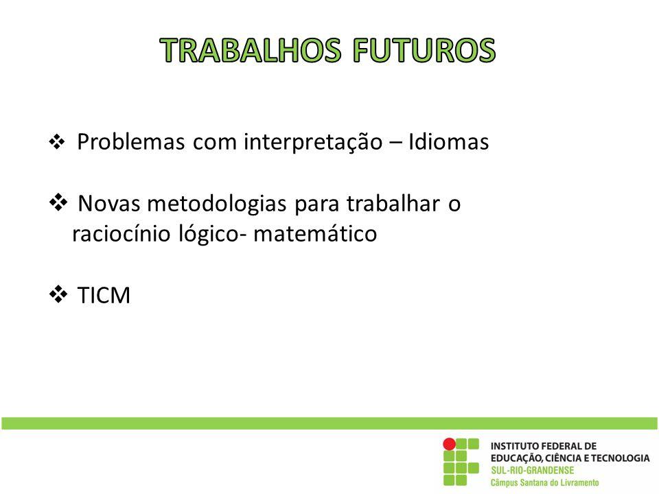 TRABALHOS FUTUROS Problemas com interpretação – Idiomas. Novas metodologias para trabalhar o raciocínio lógico- matemático.