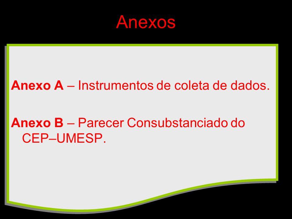 Anexos Anexo A – Instrumentos de coleta de dados. Anexo B – Parecer Consubstanciado do CEP–UMESP.