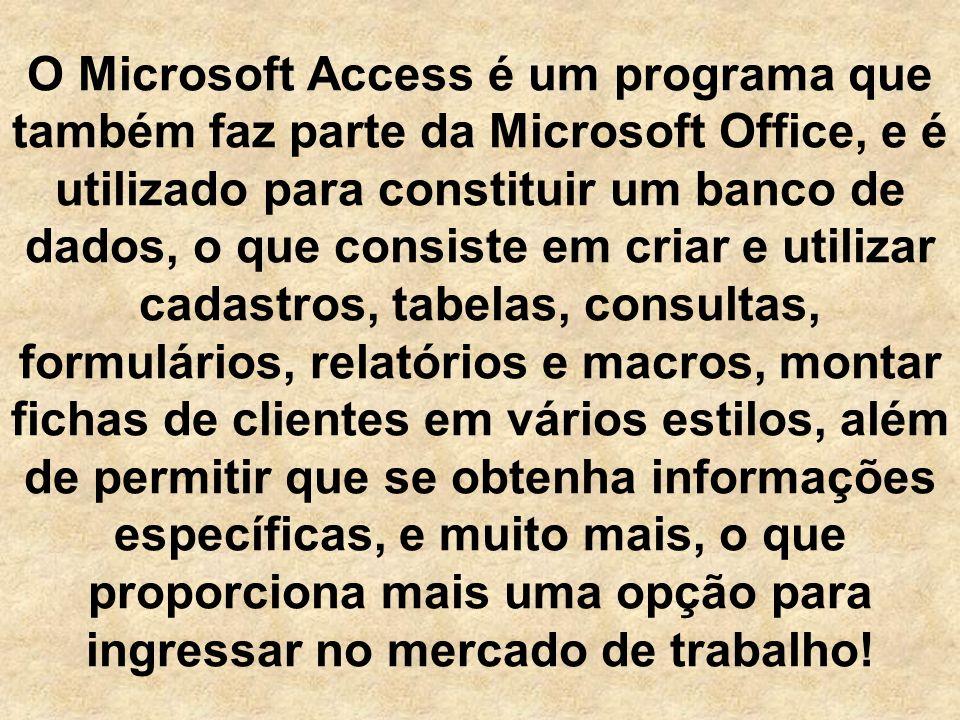O Microsoft Access é um programa que também faz parte da Microsoft Office, e é utilizado para constituir um banco de dados, o que consiste em criar e utilizar cadastros, tabelas, consultas, formulários, relatórios e macros, montar fichas de clientes em vários estilos, além de permitir que se obtenha informações específicas, e muito mais, o que proporciona mais uma opção para ingressar no mercado de trabalho!