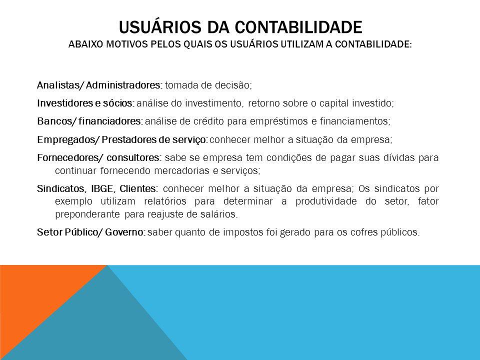 Usuários da Contabilidade Abaixo motivos pelos quais os usuários utilizam a contabilidade: