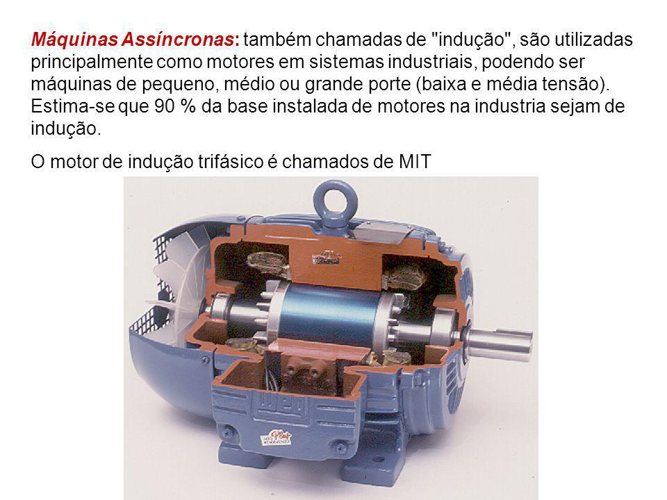 Máquinas Assíncronas: também chamadas de indução , são utilizadas principalmente como motores em sistemas industriais, podendo ser máquinas de pequeno, médio ou grande porte (baixa e média tensão). Estima-se que 90 % da base instalada de motores na industria sejam de indução.