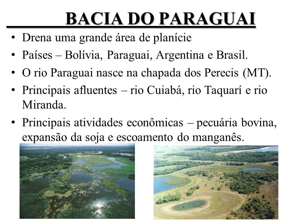 Bacia do Paraguai Drena uma grande área de planície