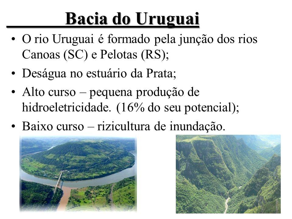 Bacia do Uruguai O rio Uruguai é formado pela junção dos rios Canoas (SC) e Pelotas (RS); Deságua no estuário da Prata;