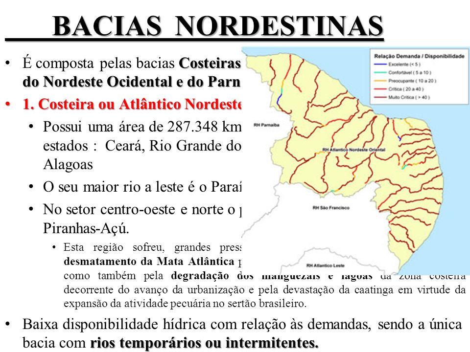 BACIAS NORDESTINAS É composta pelas bacias Costeiras do Nordeste Oriental, Costeira do Nordeste Ocidental e do Parnaíba.