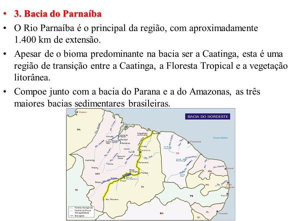 3. Bacia do Parnaíba O Rio Parnaíba é o principal da região, com aproximadamente 1.400 km de extensão.