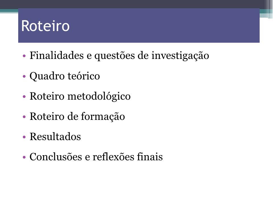 Roteiro Finalidades e questões de investigação Quadro teórico