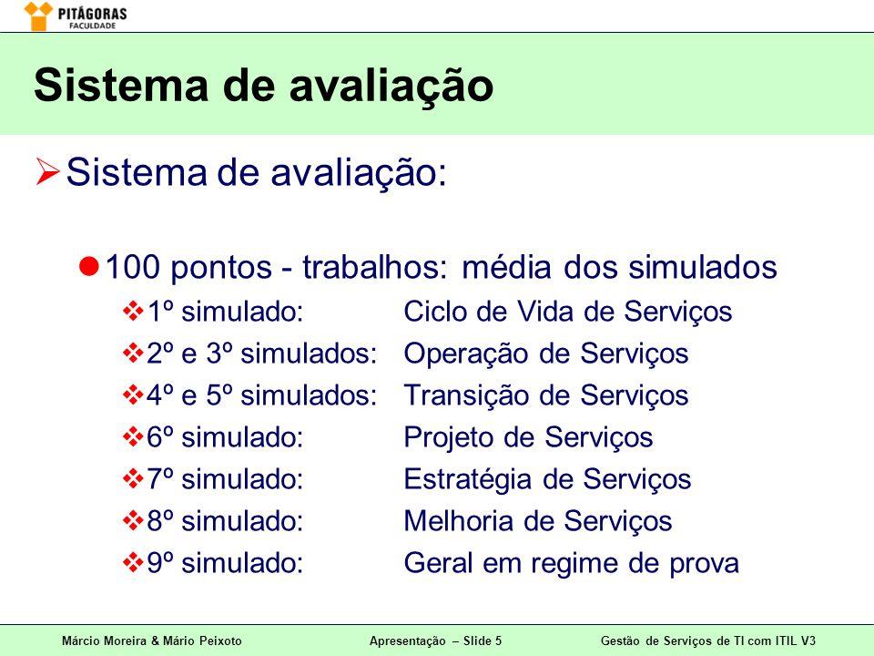 Sistema de avaliação Sistema de avaliação: