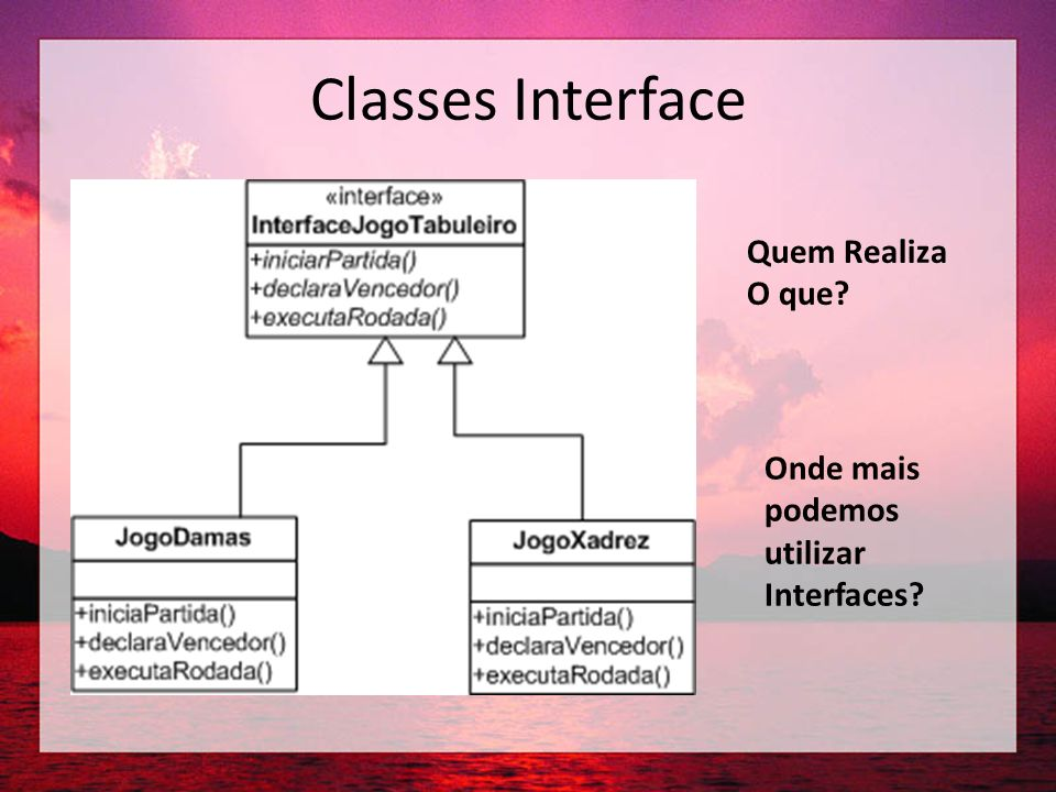 Classes Interface Quem Realiza O que Onde mais podemos utilizar