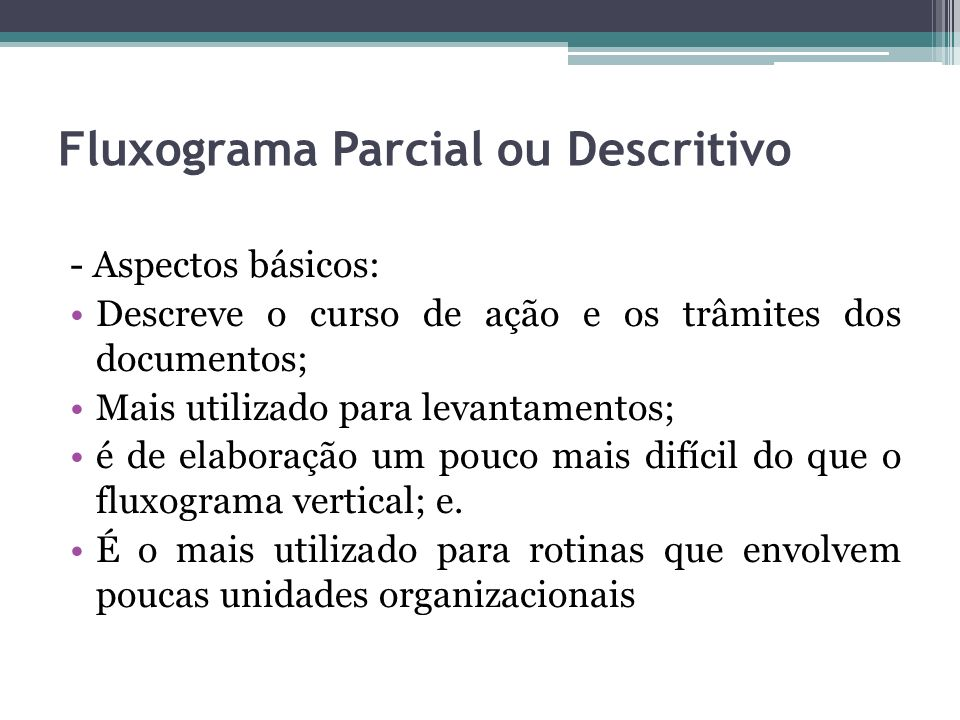 Fluxograma Parcial ou Descritivo
